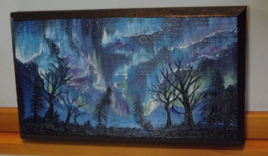 Aurora mini paintings up for sale! $20.00 each. #miniature #mini #art #auroraborealis #northernlights #forsale #acrylicpainting<br>http://pic.twitter.com/qxKx27fXSs