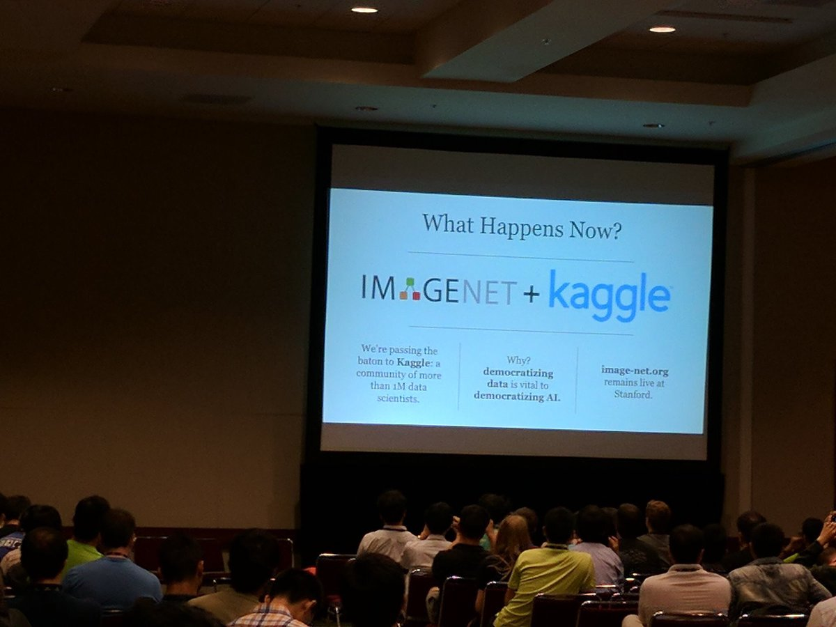 .@drfeifei just announced at CVPR that Kaggle will the new home of ImageNet. Honored to be hosting it! https://t.co/8WBnGnRzqh