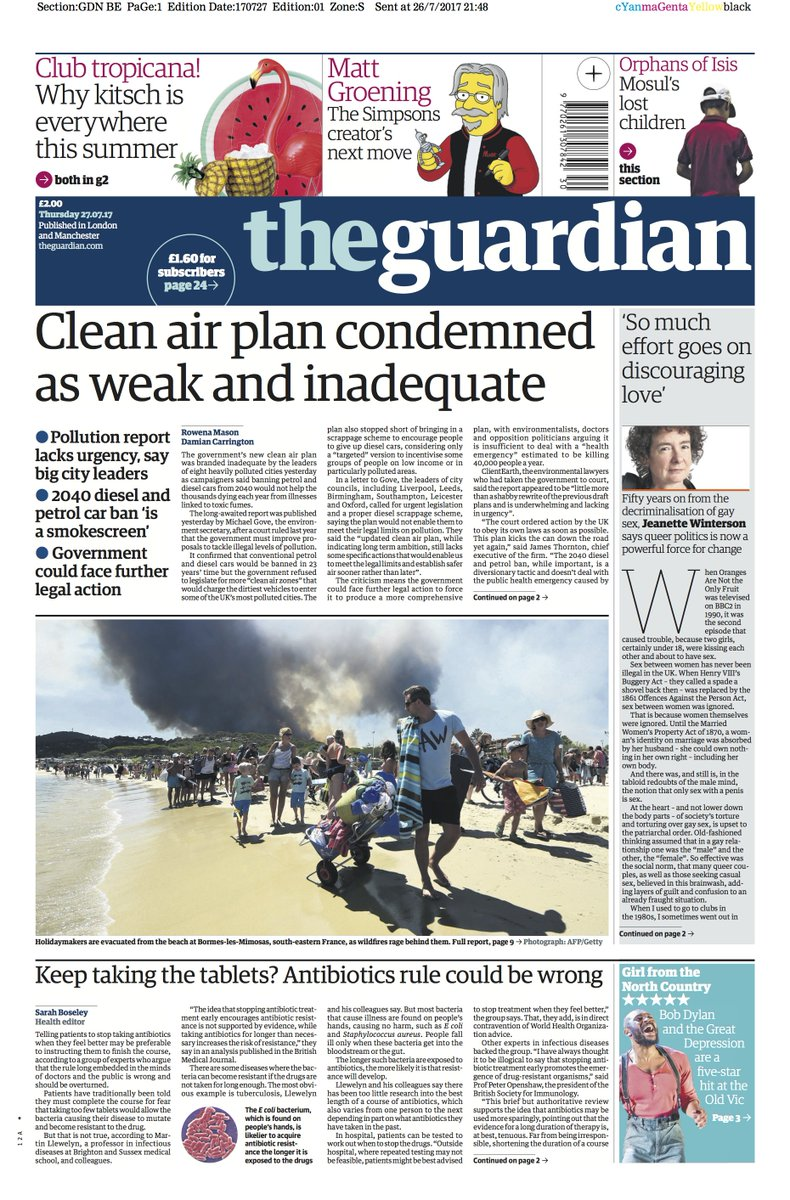 The Guardian front page, Thursday 27.07.17: Clean air plan condemned as weak and inadequate