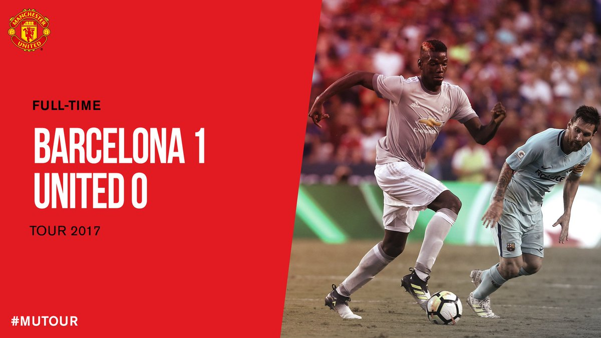 FT: Barcelona 1 #MUFC 0. Our US trip ends with a narrow defeat. #MUTOUR