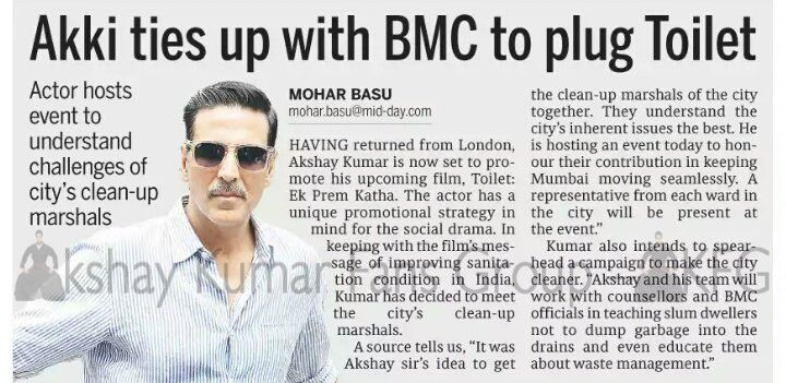 SCAN : @akshaykumar ties up with BMC to plug #Toilet, he will host an event today to understand challenges of city&#39;s clean up marshals ! <br>http://pic.twitter.com/czl7wmxMFU