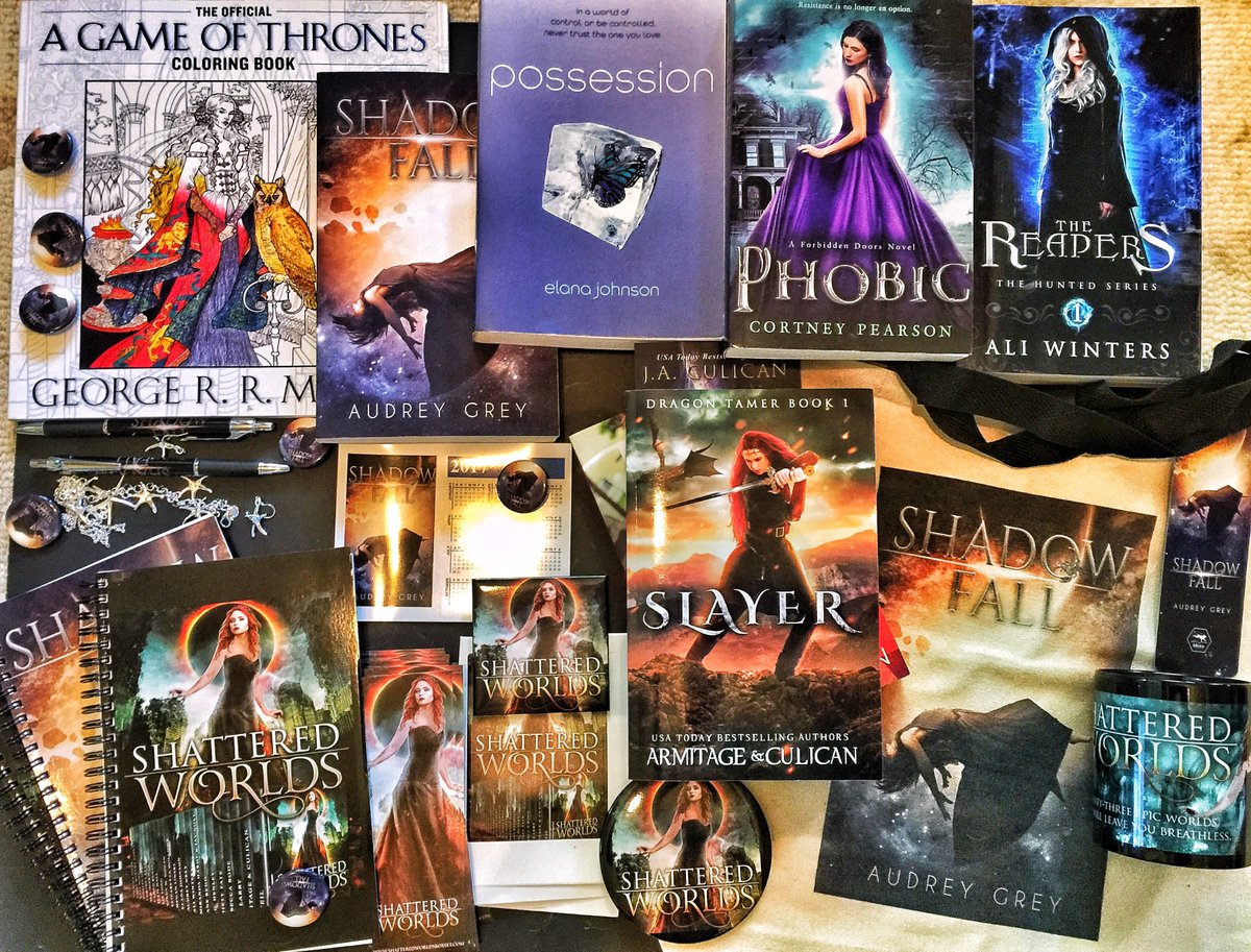 Want to win a big box of #signedbooks and #shatteredworlds #swag? Me too! Pretty sure I&#39;m not eligible, but you are!  https:// gleam.io/K9Gha/shattere d-worlds-swag-giveaway &nbsp; … <br>http://pic.twitter.com/0WlZKKD8iF