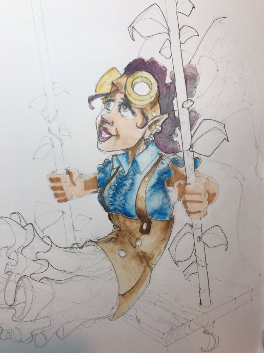 #watercolor #steampunk #fairy #illustration in mid stage #drawing #doodlebags #nashville #steam #goggles #art<br>http://pic.twitter.com/KFkjSrP42T