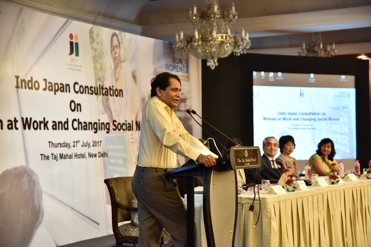 We should create an environment to ensure women reach their full potential to address the changing social norms: @sureshpprabhu #IndoJapanpic.twitter.com/ ...