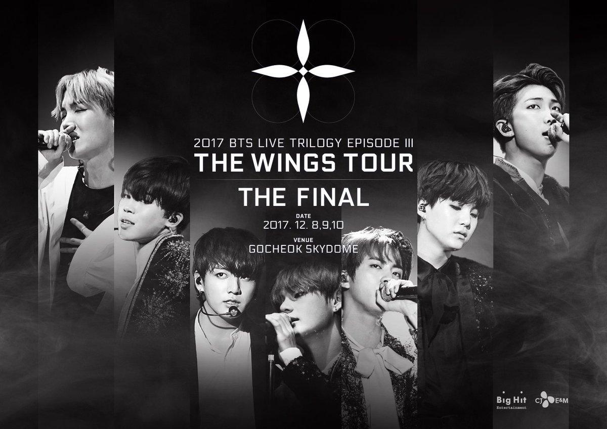 RT @BigHitEnt: 2017 BTS LIVE TRILOGY EPISODE Ⅲ THE WINGS TOUR THE FINAL 티저 포스터  #방탄소년단 #BTS #THEWINGSTOUR_THEFINAL...