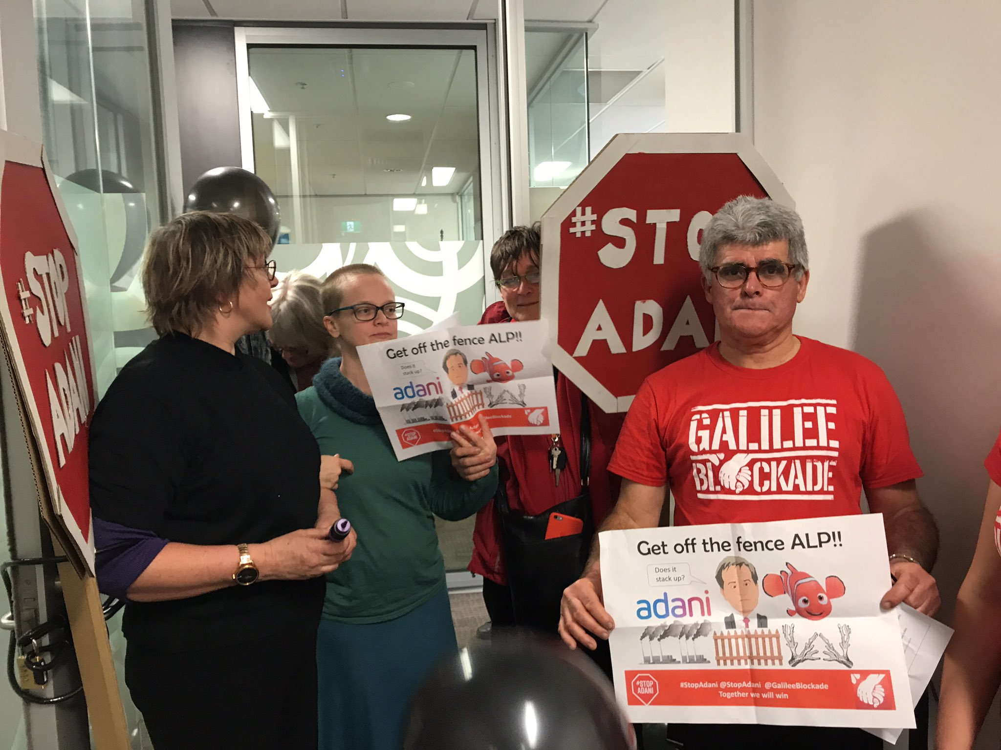 #StopAdani @billshortenmp we're in Bill's office asking labour to Get off the Fence! https://t.co/pzE9ZUhbOb