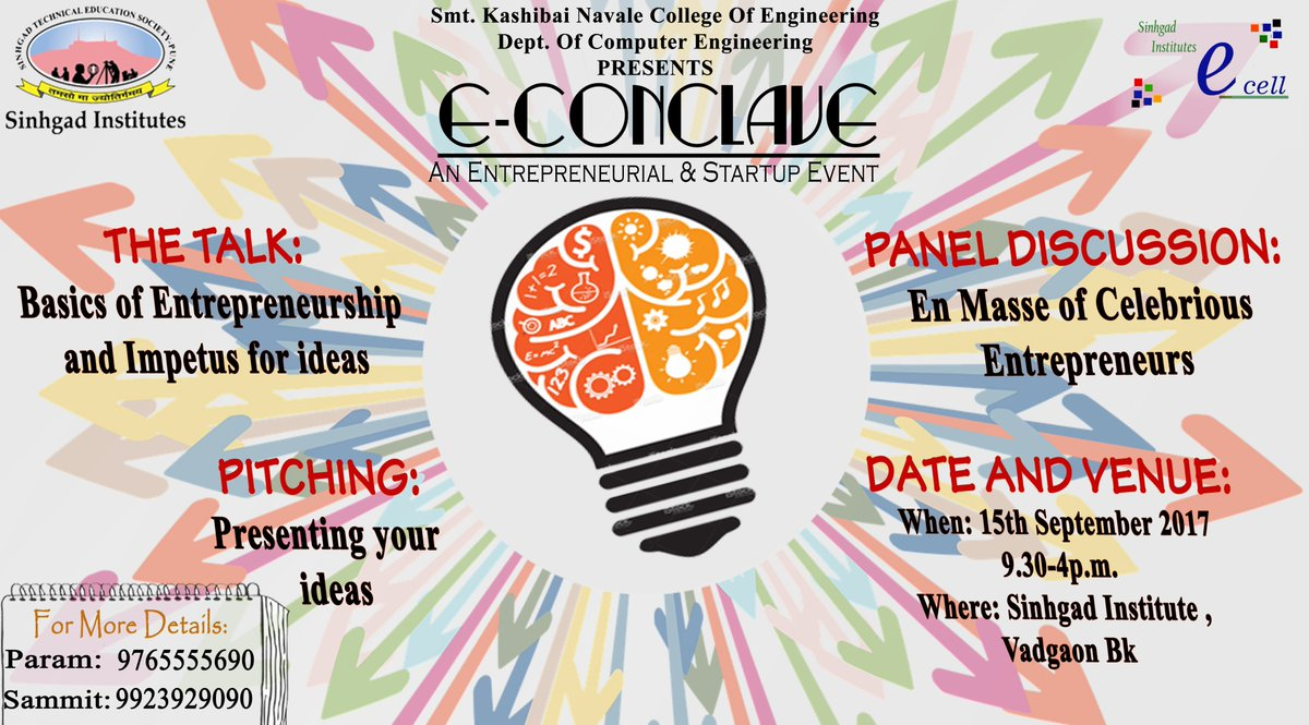 E-conclave 2K17!!!  An Entrepreneurial &amp; startup Event.  http:// ecellskncoe.in / &nbsp;    #Ecell #startup #Entrepreneurship #SinhgadInstitute #Skncoe<br>http://pic.twitter.com/LqZTpYYMqc