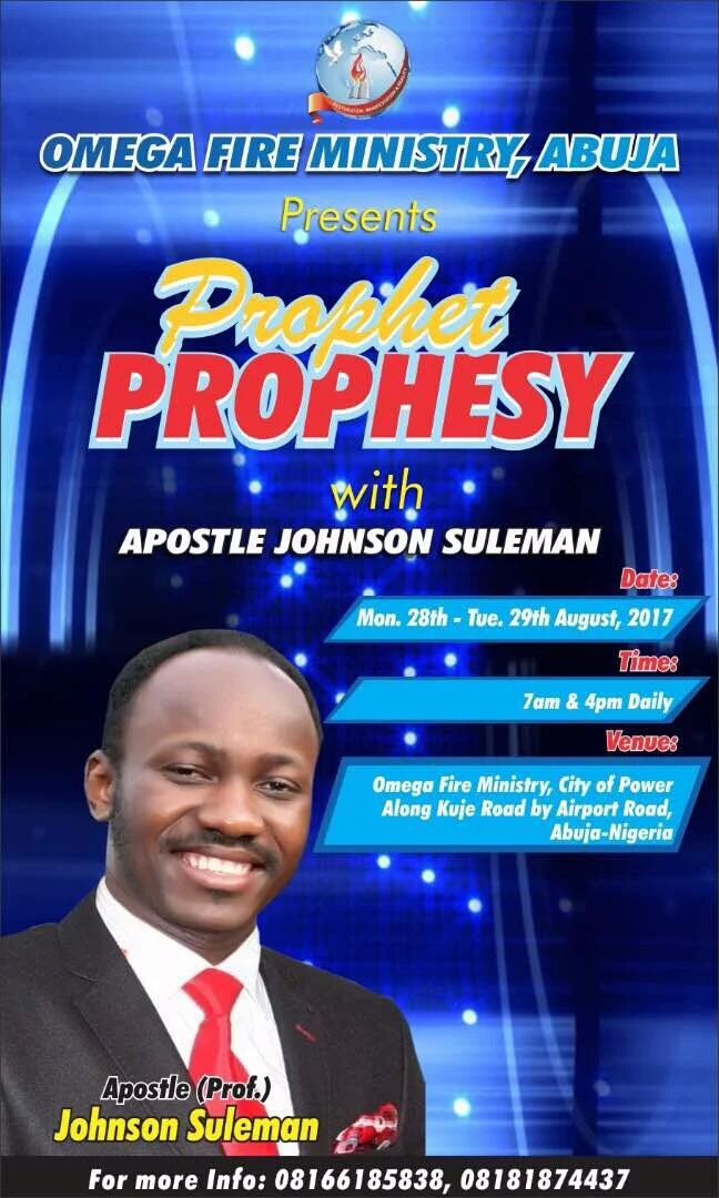 Apst Johnson Suleman (@APOSTLESULEMAN) on Twitter photo 27/07/2017 02:28:06