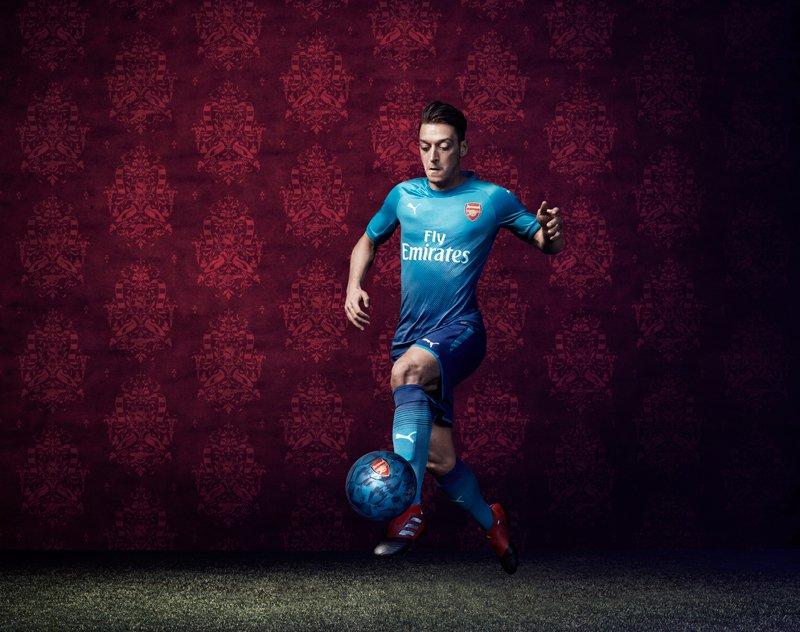 hot sales 82fc9 53089 [Photos] Mesut Ozil helps unveil new Arsenal 2017/18 away kit