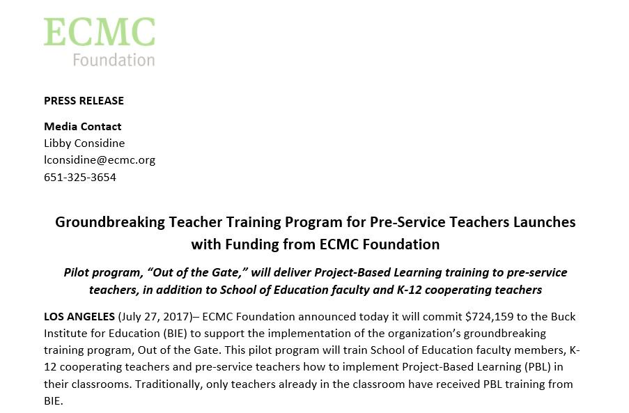 #PressRelease: Pre-service teachers to receive #PBL training via @BIEpbl's pilot with support from ECMC Foundation:  http:// prn.to/2tG8HmW  &nbsp;  <br>http://pic.twitter.com/TJSda5ZDwO