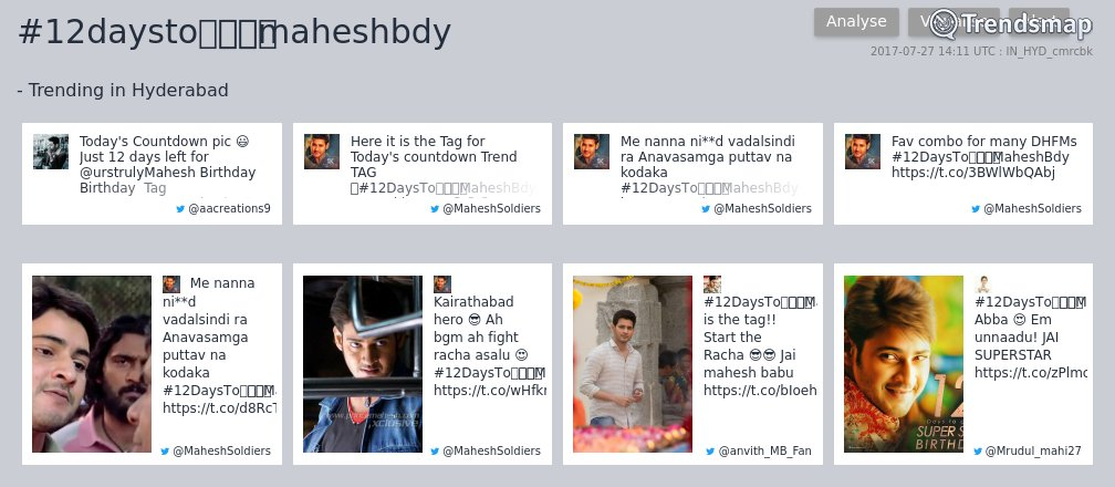 #12daystoపోకిరిmaheshbdy is now trending in #Hyderabad   https://www. trendsmap.com/r/IN_HYD_cmrcbk  &nbsp;  <br>http://pic.twitter.com/KNpcAf67Li