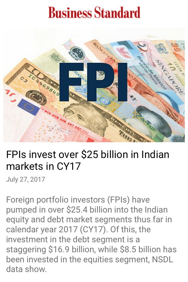 #trust in Modi @OfficeOfRG @INCIndia FPIs invest over $25 billion in Indian markets in CY17  http://www. business-standard.com/article/market s/fpis-invest-over-25-billion-in-indian-markets-in-cy17-117072600315_1.html &nbsp; … <br>http://pic.twitter.com/37JDt22CHF