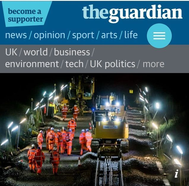 We were in the @guardian last week!! Great pic of our #yellowkit! #rail #engineering https://t.co/x9iVR8yi0b