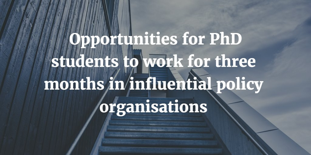 Policy Internships Scheme (opportunities for PhD students): https://t.co/jNrk7Xditw  (closes 10 August)  #esrcphd https://t.co/P9Xy9GmEEw