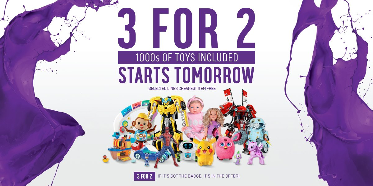 3 for 2 on toys is back from tomorrow, in perfect time for the summer holidays! Mix and match on 1000s of toys: https://t.co/xKUYjzllG9
