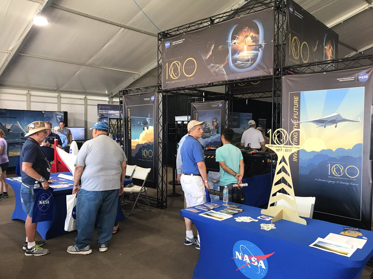 If you're at #OSH17 swing by the #NASA Pavillion and check out the #nasalangley100 exhibit!