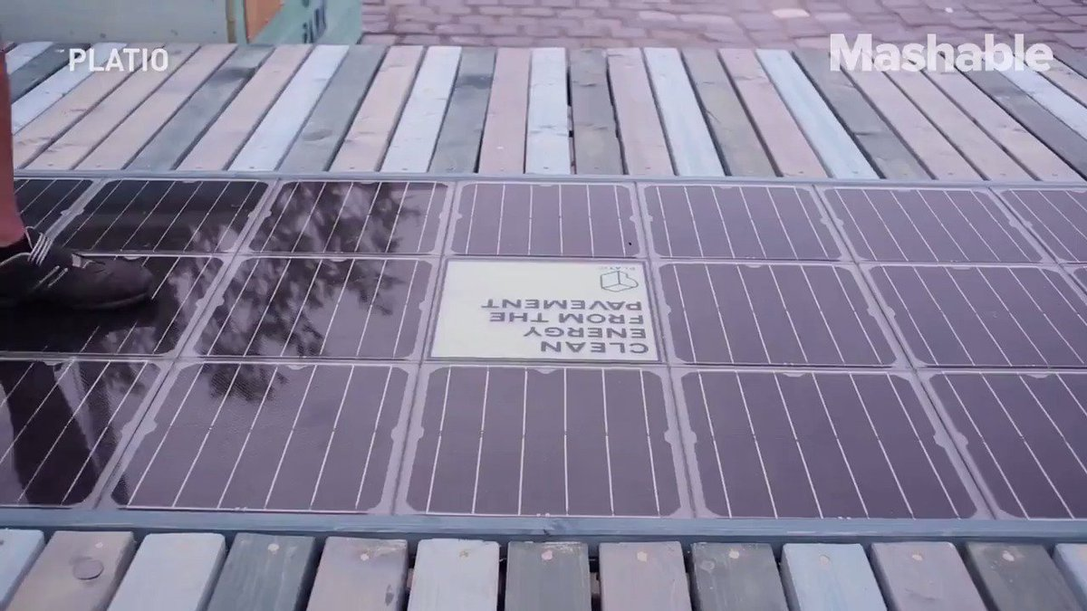These benches and sidewalks are made out of solar panel