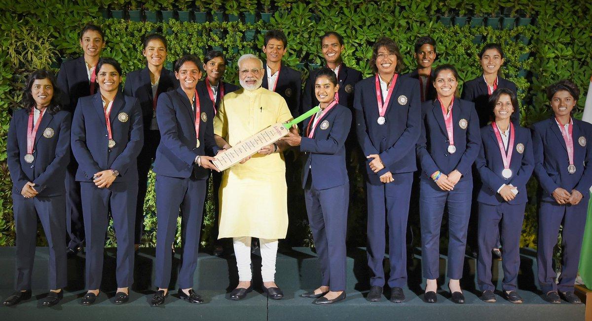 Prime Minister Shri @narendramodi interacting with the Indian Women Cricket Team, in New Delhi. #WomenInBlue