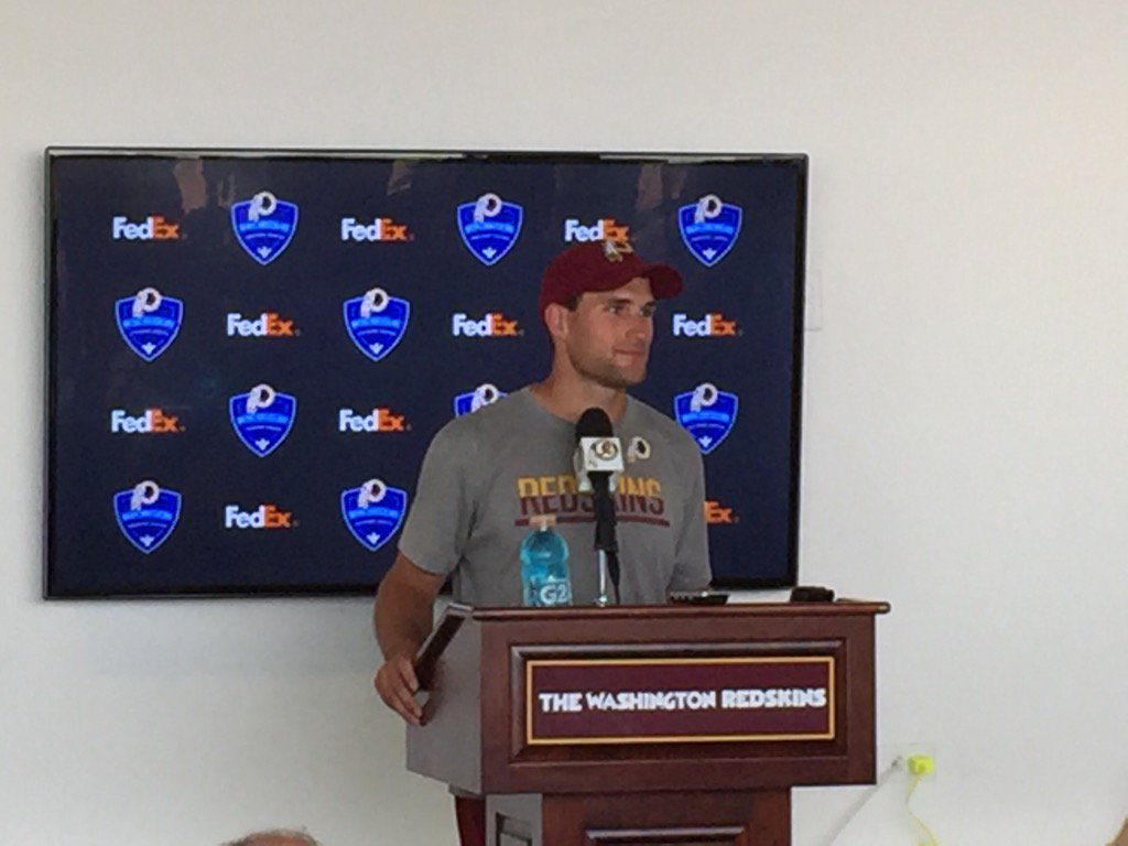 Kirk Cousins turn at the mic. First day of Redskins camp coming on 13NewsNow at 4,5 and 6.
