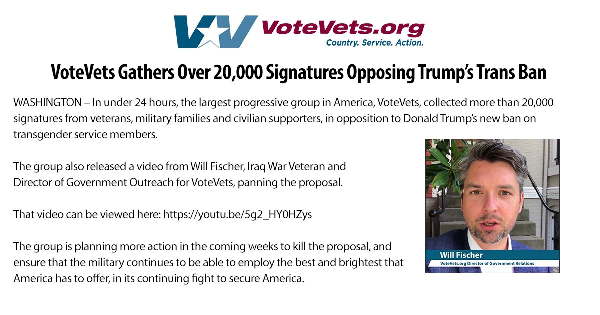 VoteVets collected over 20k signatures from vets, military families and supporters opposing @POTUS's #trans ban.  https:// youtu.be/5g2_HY0HZys  &nbsp;  <br>http://pic.twitter.com/sYyfIC1kZU