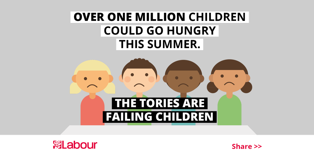This summer over a million children in England could go hungry. The Tories' plan to help? They don't have one. RT ↓ https://t.co/WjBCs3oD3T
