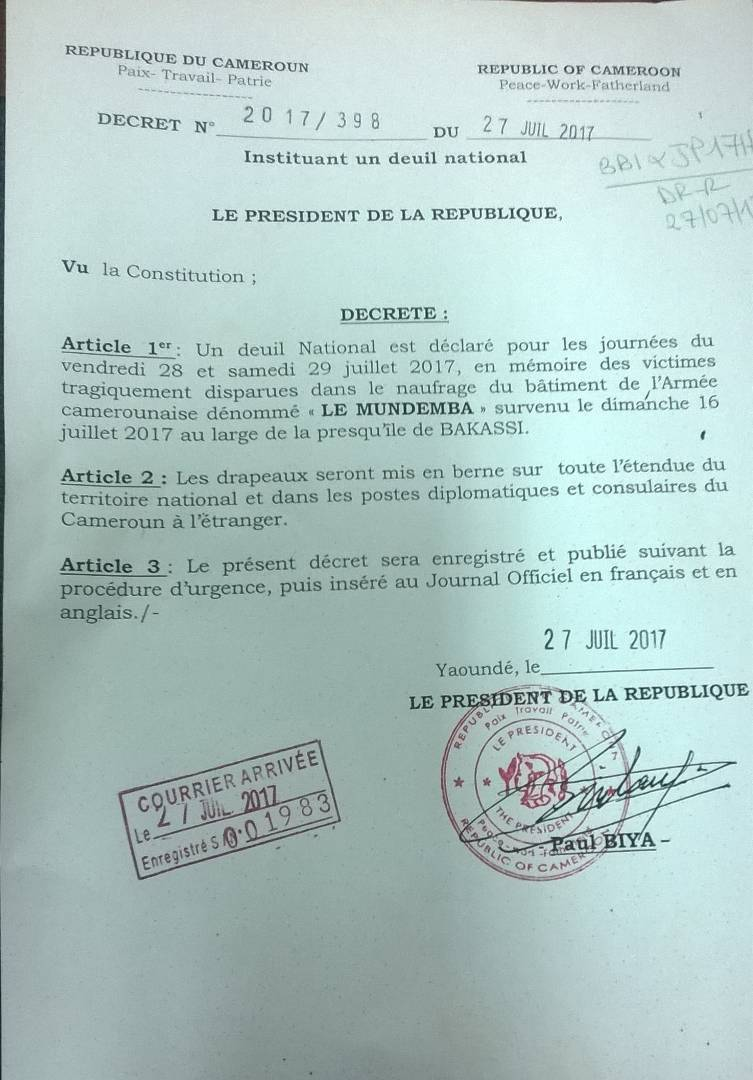 President Biya Decrees Two Days Of National Mourning For Soldiers  # Mebe De Television