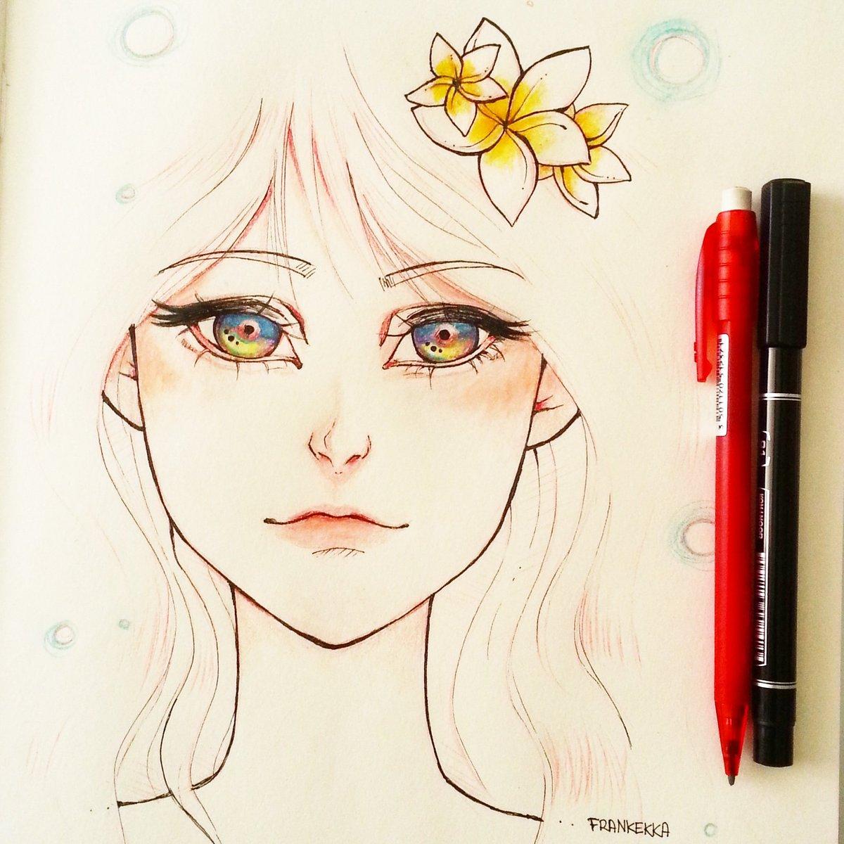 Frankekka art 🖌 on twitter flower girl drawings drawingaugust draw diseno kawaii anime animeart manga pencil sketch sketchbook illu