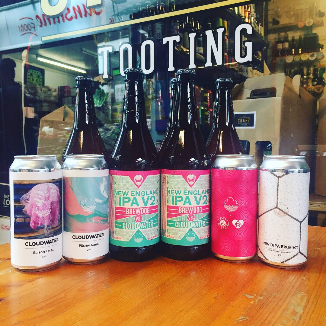 Loads of FRESH #Cloudwater Including NEW #NWDIPA, a #Dry&amp;Bitter collab (cans and on tap) AND more of V2 #NEIPA  Be quick! #Craft #Tooting <br>http://pic.twitter.com/qlqnmQZrX3 &ndash; bij Craft Tooting