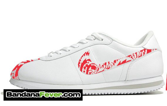 purchase cheap 3d6ed 9cf2f ... Custom Red Bandana Nike Cortez Leather White Grey, FREE SHIPPING, pai…  http tuppu  CREYONB Bandana Fever Custom Studded Black Mono ...