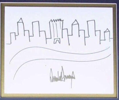 Had never seen an actual Trump painting before. NYC Skyline looks like a bunch of middle fingers. 🤔