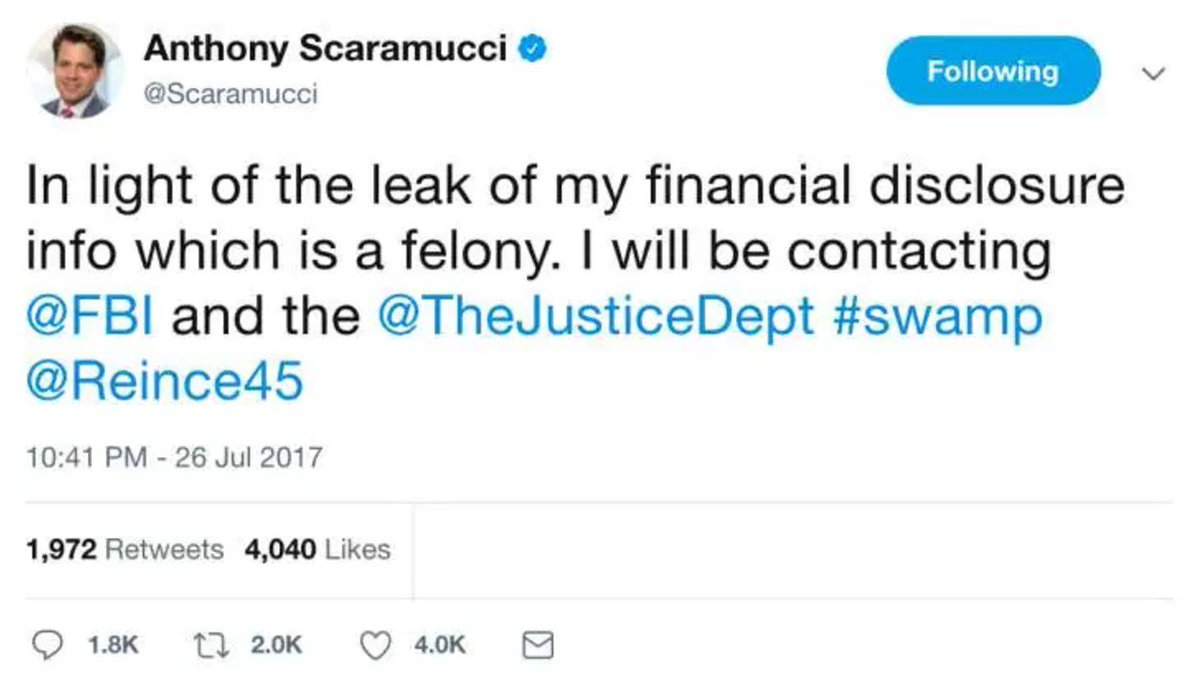 This is the least of @Scaramucci's probs right now, but how is this person the communications director of anything? #WhereIsThePunctuation