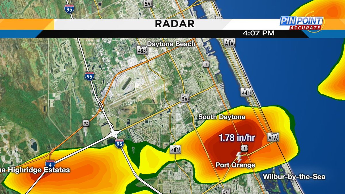 Pouring rain in spots. Just south of the speedway Port Orange is getting good drenched.