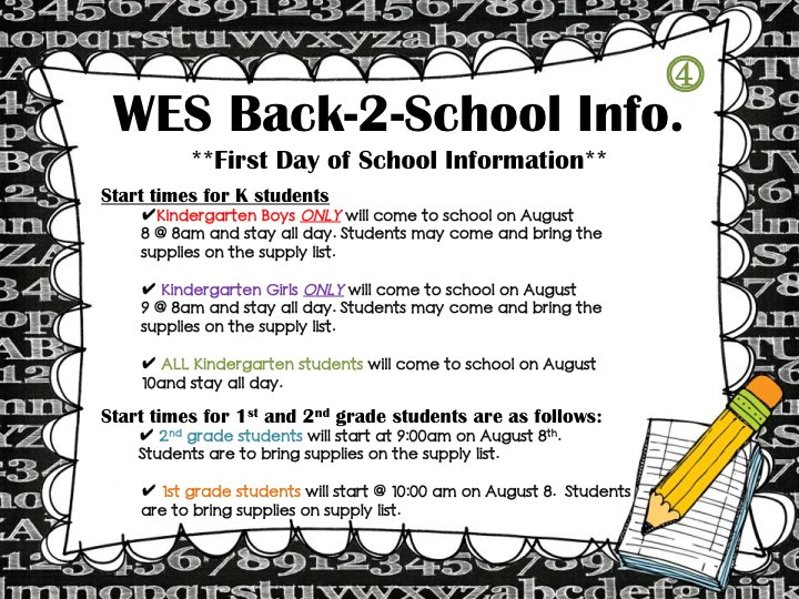 WES #Back2School &quot;First Day of School&quot; Information for all K-2 students (English) <br>http://pic.twitter.com/yafK8MnqgY