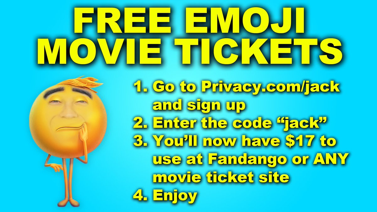 Thanks to @PrivacyHQ, you can now get free tickets to see The Emoji Movie. Seriously. https://t.co/DWx0pKAMxV #ad