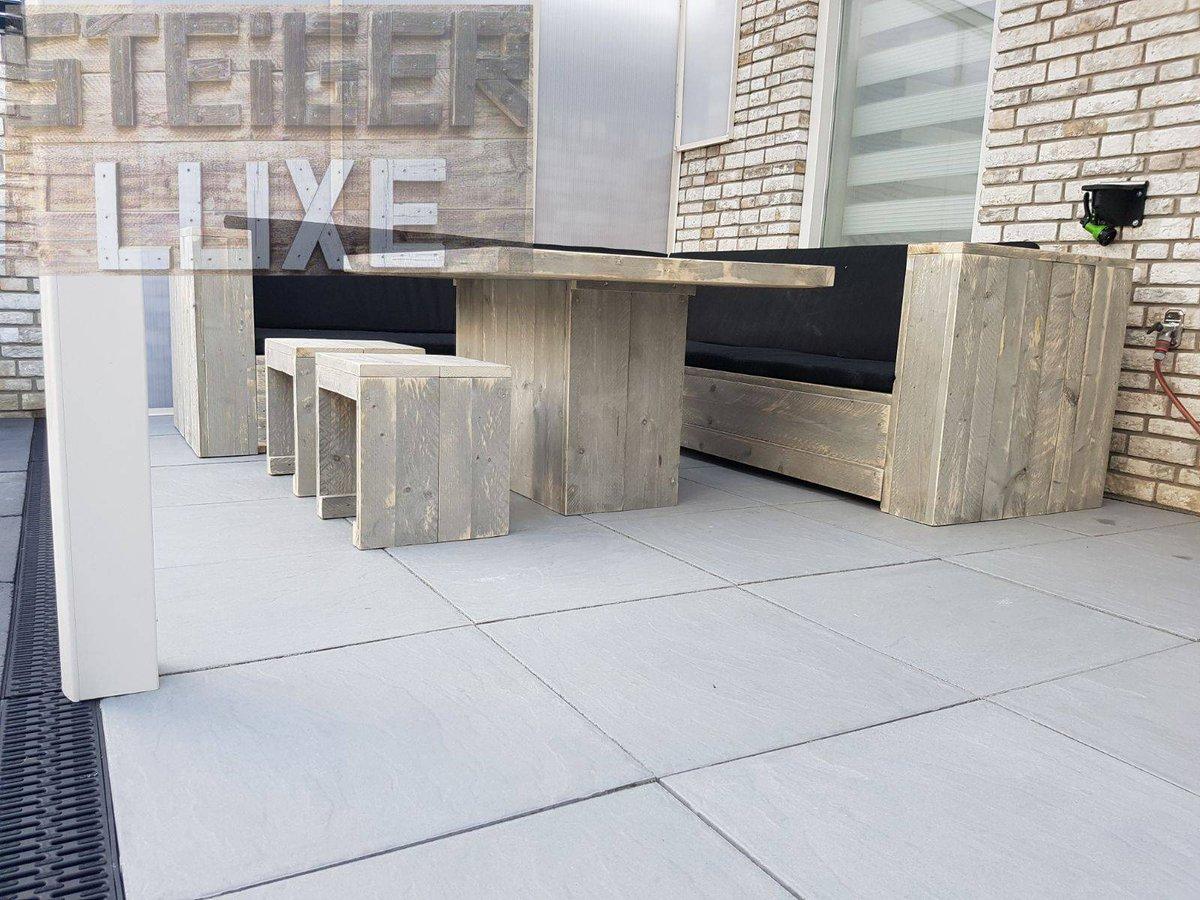 Kussens Loungebank Steigerhout : Loungebank steigerhout robuust met kussens