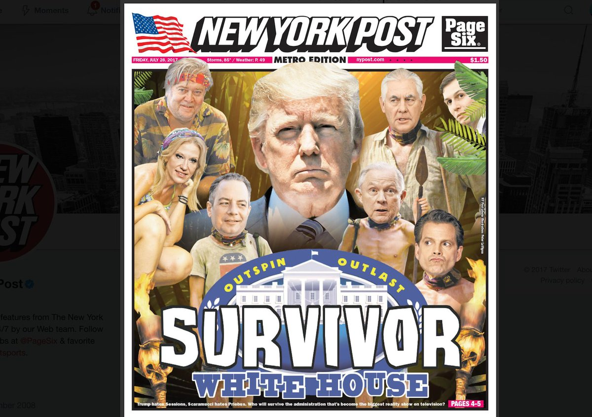 New York Post cover depicts Trump's White House as an episode of 'Survivor' https://t.co/Wwuoym1qen