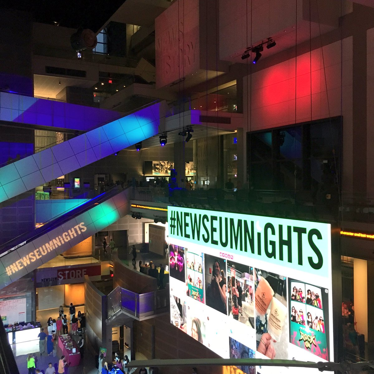 Tag #NewseumNights on Twitter or Instagram to get up on the big screen in the atrium!