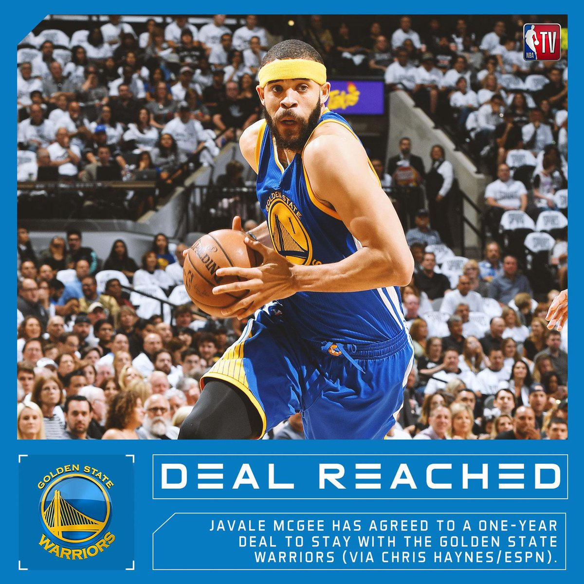 REPORTS: JaVale McGee has agreed to a one-year deal to stay with the Golden State Warriors (via Chris Haynes/ESPN).  https://t.co/xGaJJMlZe4