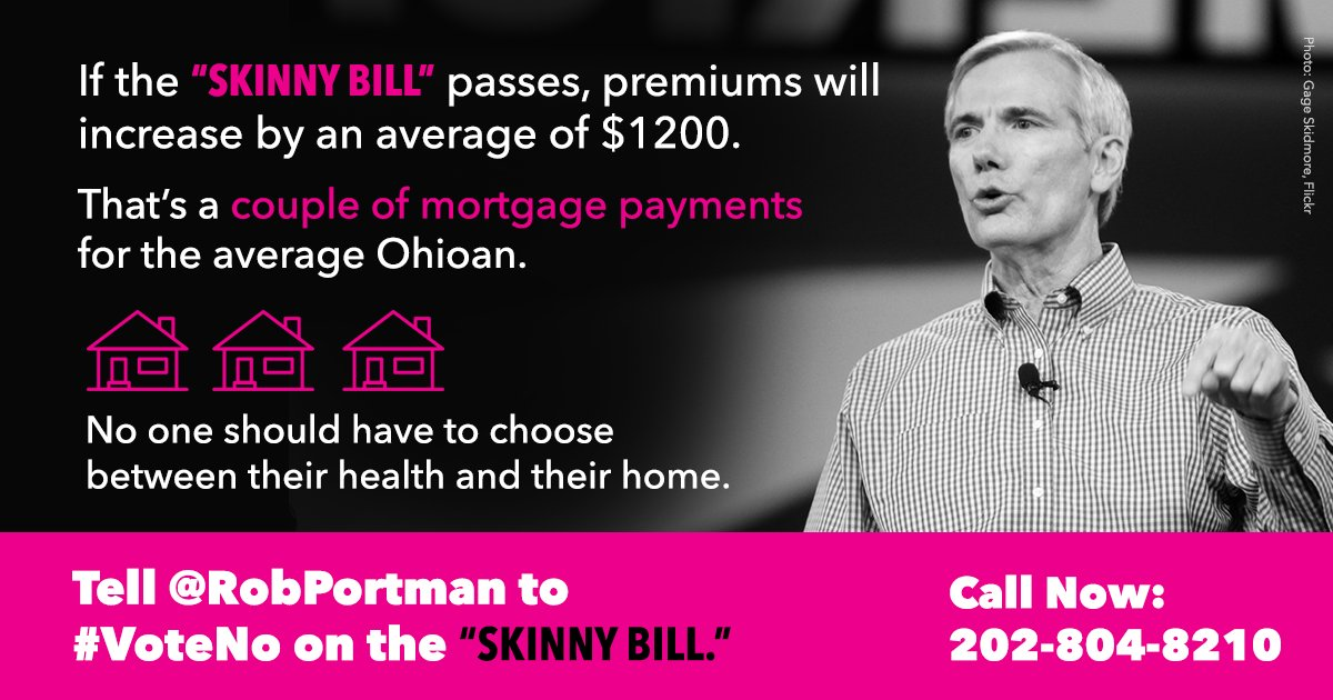 Millions of people are counting on @robportman to protect our health care and #StandWithPP. Tweet to tell him to #VoteNo on #Trumpcare.