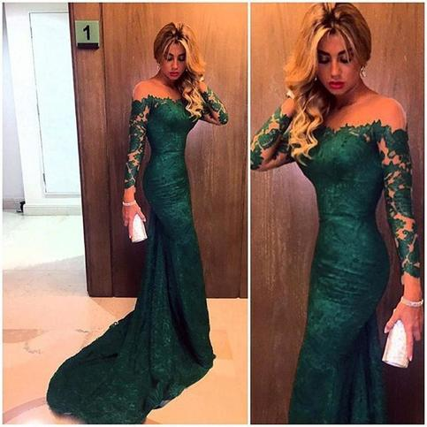 2016 Dark Green Evening Gowns Long Sleeves Off the Shoulder Lace Elegant Mermaid  https:// seethis.co/Jy9zE/  &nbsp;   #formal dress #prom dresses 2017 <br>http://pic.twitter.com/JcWZrfBMbo