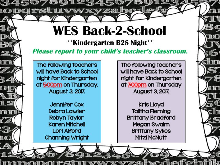 #Back2School Night for Kindergarten.  Please check your child&#39;s teacher&#39;s name on the class lists.  You will go directly to that classroom. <br>http://pic.twitter.com/vnHAW4MoDy