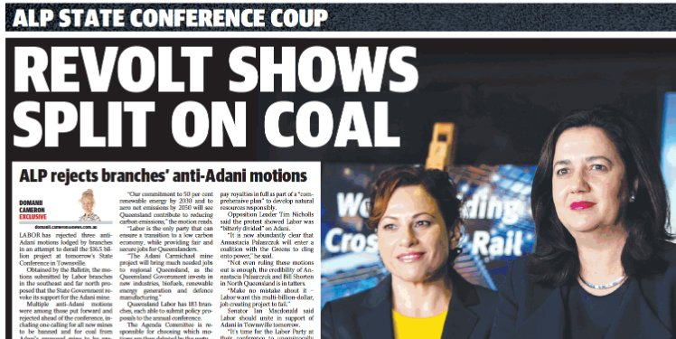 .@QLDLabor members wanted to #StopAdani + debate support for Adani's #coal mine at State Conference but @AnnastaciaMP rejected their motions https://t.co/Eqgo36QSKK