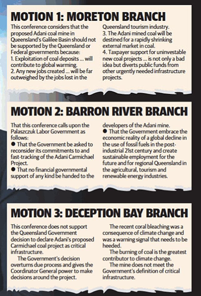 Here are the motions from Labor membership to #StopAdani, act on #climate that @AnnastaciaMP and @QLDLabor rejected from State Conference https://t.co/dsdYDq3wOu