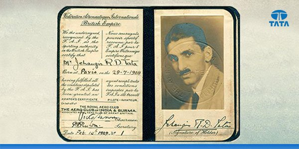 In 1929, #JRDTata was the proud recipient of the first pilot licence to be issued to an Indian—marked No. 1. https://t.co/Drzo8Zl7I6