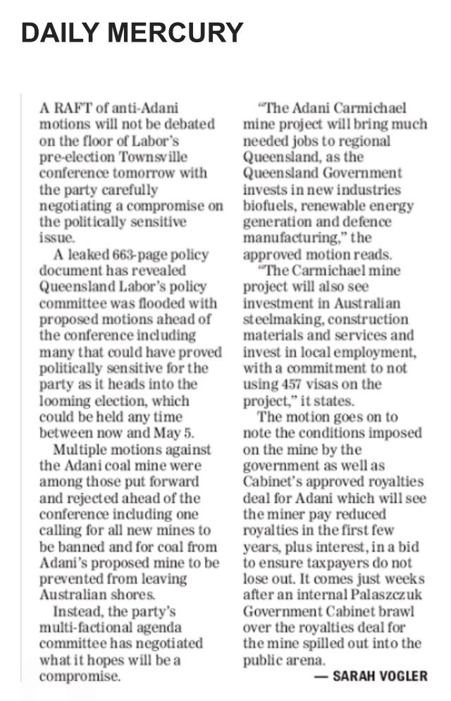 Plenty of people in Queensland Labor want to act on climate change, save the Reef and #StopAdani #Qldpol https://t.co/dxUoXpbv2o