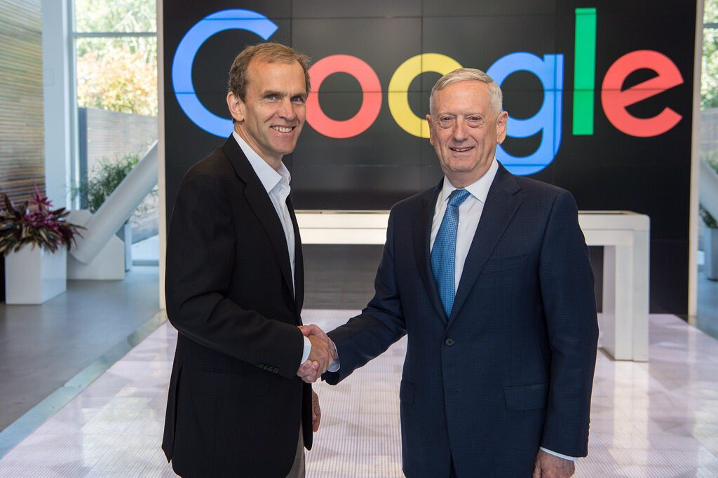 Today #SecDef Jim Mattis met with @Google leadership at their corporate headquarters in Mountain View #California.<br>http://pic.twitter.com/1JyNmHfmMe
