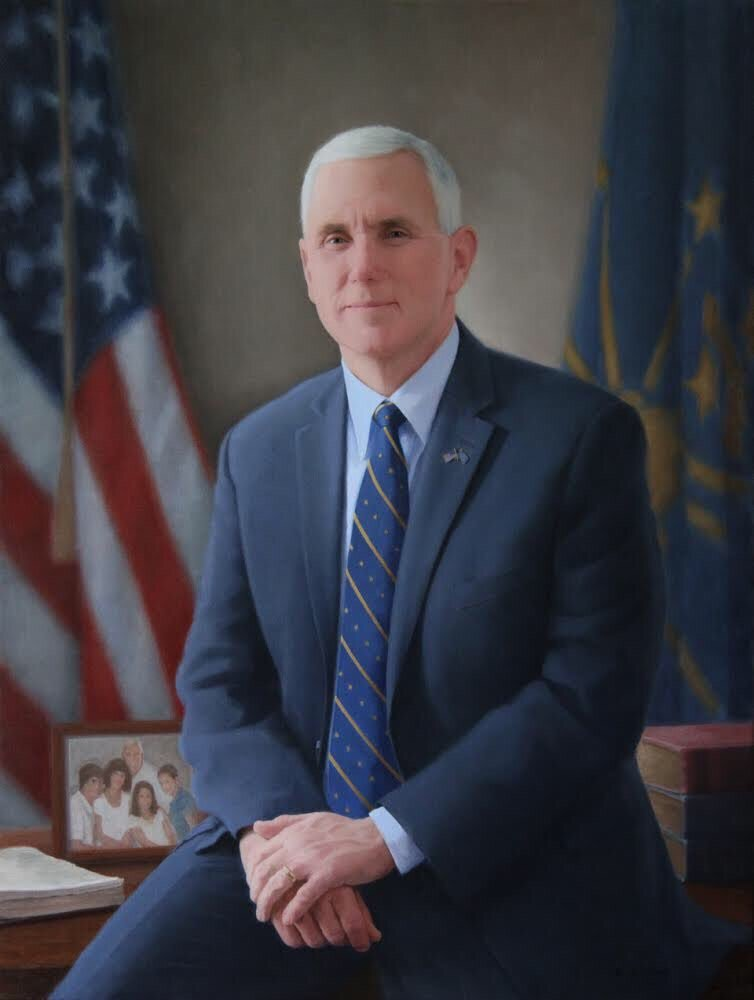 Official @VP Pence portrait: Bible, family photo, Indiana-themed tie designed by his wife, unbuttoned jacket https://t.co/bpAshWKlCl