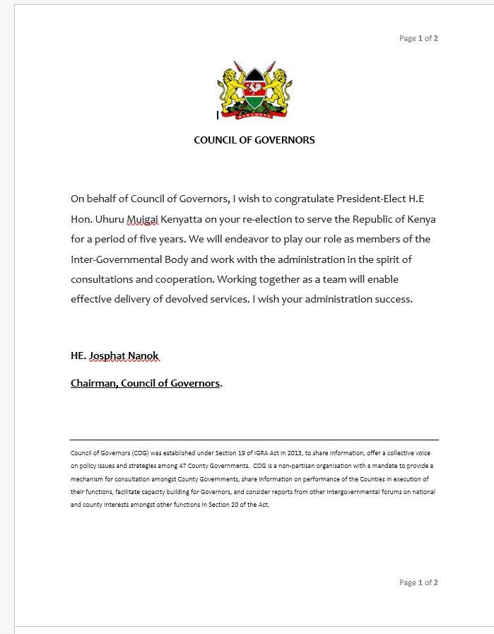 H.E Josphat Nanok Congratulates H.E Uhuru Kenyatta on his re-election as President of the Republic of Kenya #KenyaPresident #OneNation<br>http://pic.twitter.com/pK869C3ZnZ