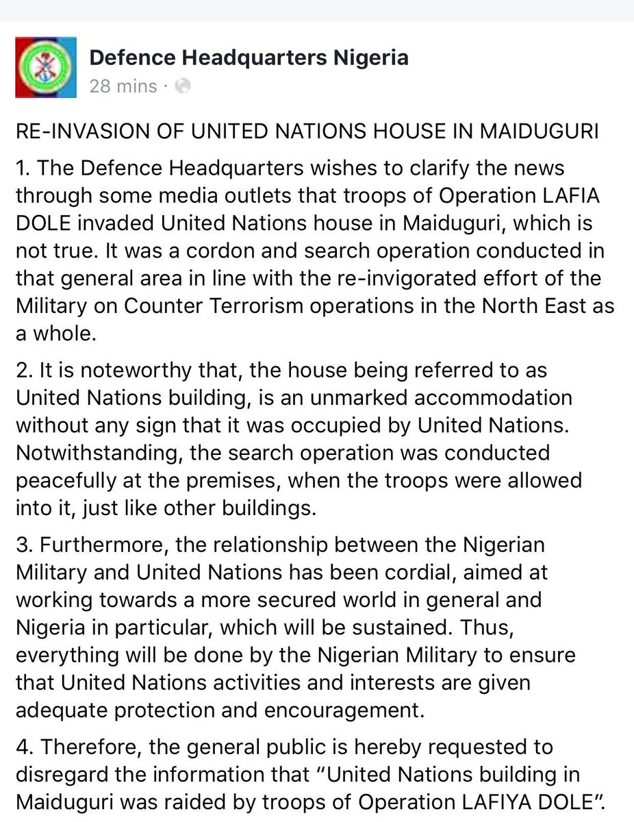 #PressRelease: Re-Invasion of @UnitedNations House in #Maiduguri  Source: @DefenceInfoNG<br>http://pic.twitter.com/gkSHe3Thnz