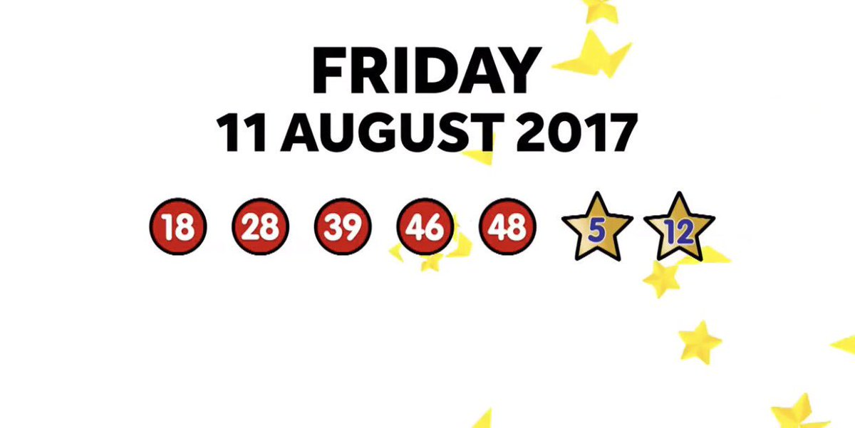 Friday 11th August 2017 #Euromillions result plus UK raffle 18, 28, 39, 46, 48   5  12 pic.twitter.com/v9dtwUzQfX